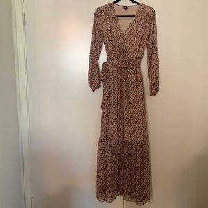 Aakaa Tan Floral BoHo Maxi Dress Small S Excellent